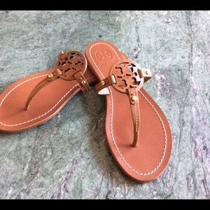 244619d21 Tory Burch Mini Miller Brown Leather Thong Sandals